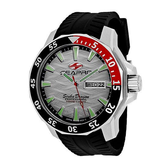 Seapro Scuba Dragon Diver Mens Silver Dial Black Silicone Strap Watch