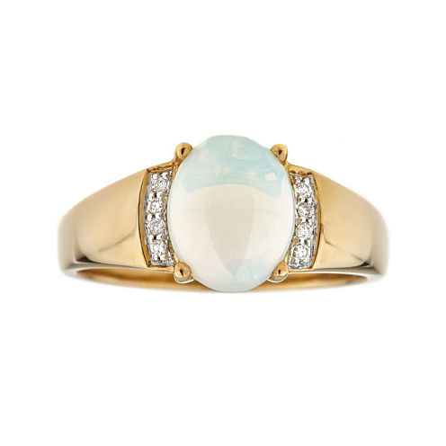 LIMITED QUANTITIES  Genuine Opal Diamond Accent 10K Yellow Gold Ring