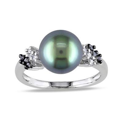 1/8 CT. T.W. Diamond & Genuine Black Tahitian Pearl 10K White Gold Ring