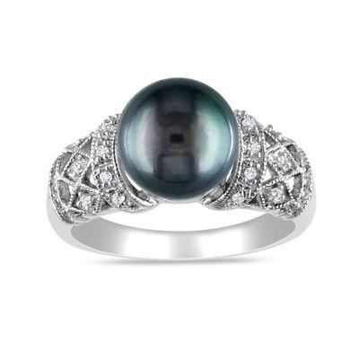 1/10 CT. T.W. Diamond & Genuine Black Tahitian Pearl 14K White Gold Ring