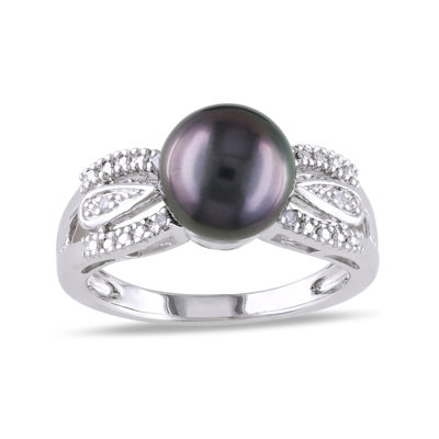 Genuine Black Tahitian Pearl & Diamond Accent Sterling Silver Ring