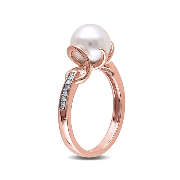 Cultured Freshwater Pearl and Diamond Accent Rose Gold Over Silver Ring