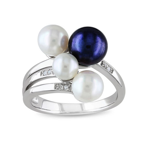 White & Dyed Black Cultured Freshwater Pearl and Diamond Accent Ring