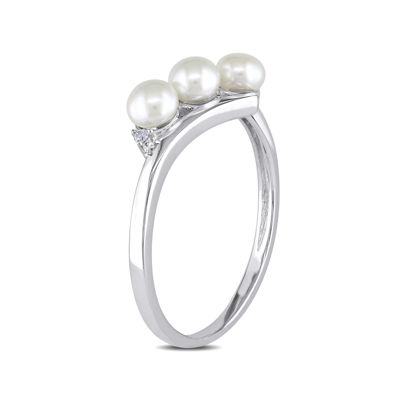 Cultured Freshwater Pearl & Diamond Accent 10K White Gold Ring