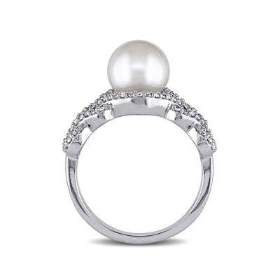 1/5 CT. T.W. Diamond & Cultured Freshwater Pearl 10K White Gold Ring