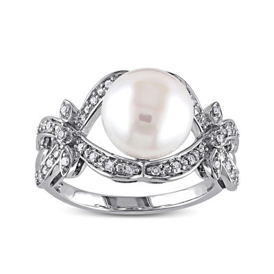 1/6 CT. T.W. Diamond & Cultured Freshwater Pearl 10K White Gold Ring