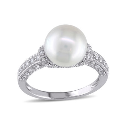 1/4 CT. T.W. Diamond & Cultured Freshwater Pearl 10K White Gold Ring