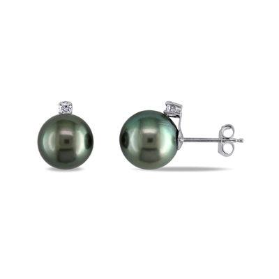 1/10 CT. T.W. Diamond and Genuine Black Tahitian Pearl Earrings