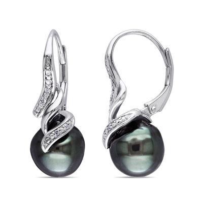 Genuine Black Tahitian Pearl & Diamond Accent Sterling Silver Earrings
