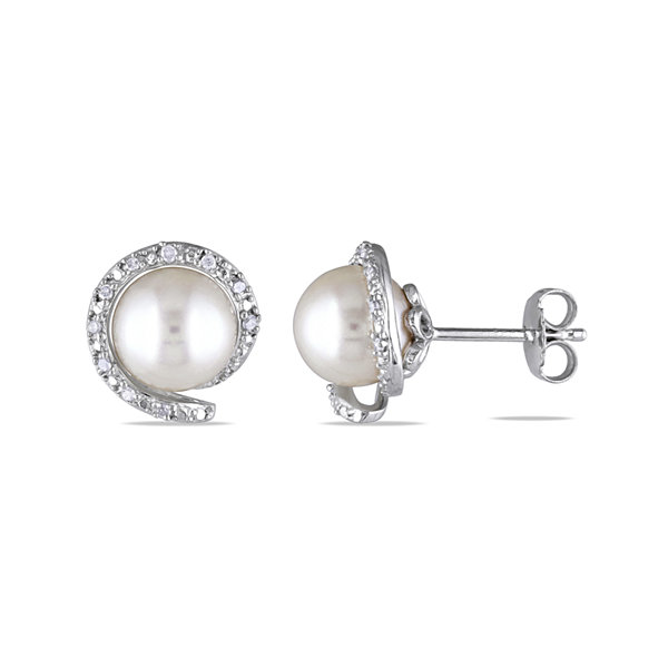 1/10 CT. T.W. Diamond & Cultured Freshwater Pearl Sterling Silver Earrings