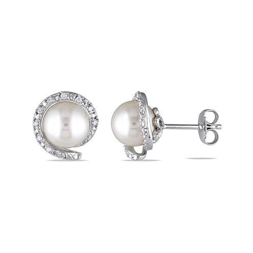 1/10 CT. T.W. Diamond & Cultured Freshwater Pearl Sterling Silver Earrings