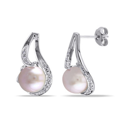 Pink Cultured Freshwater Pearl & Diamond Accent Sterling Silver Earrings