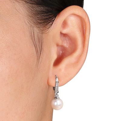 Cultured Freshwater Pearl and Diamond Accent Sterling Silver Clip Earrings