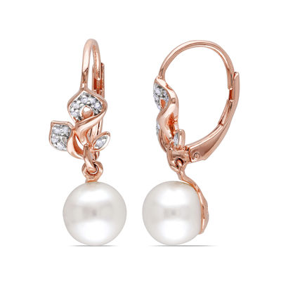 1/10 CT. T.W. Diamond and Cultured Freshwater Pearl 14K Rose Gold Earrings