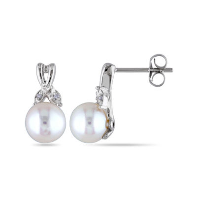 Cultured Freshwater Pearl and Diamond Accent 10K White Gold Earrings