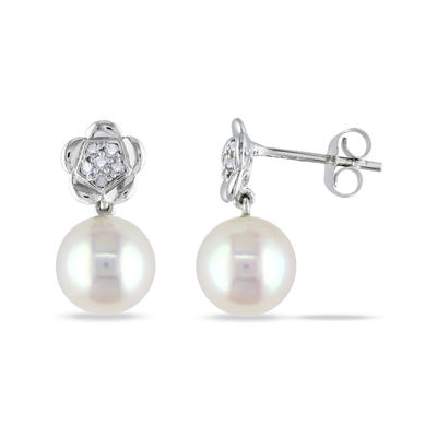 Diamond Accent Round White Pearl 10K Gold Stud Earrings