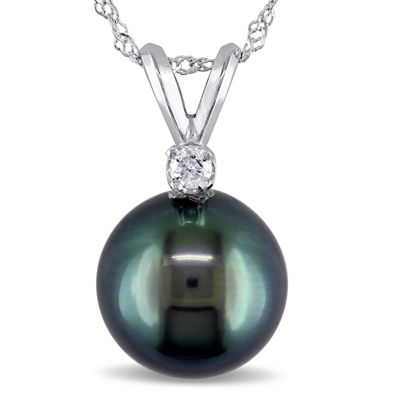 Genuine Black Tahitian Pearl & Diamond Accent 14K White Gold Pendant
