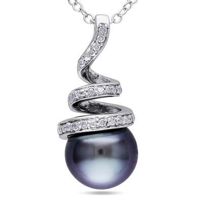 1/10 CT. T.W. Diamond & Black Tahitian Pearl Sterling Silver Pendant