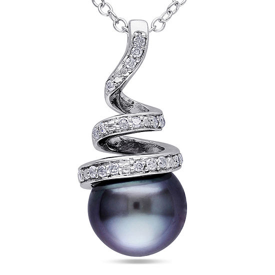 1/10 CT. T.W. Diamond & Black Tahitian Pearl Sterling Silver Pendant