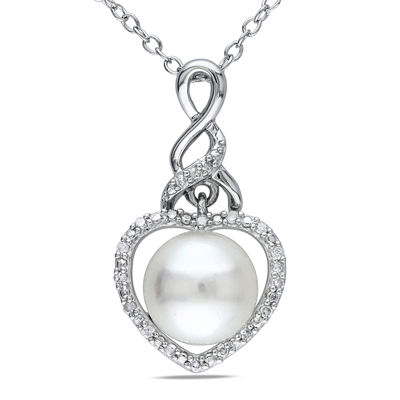 Cultured Freshwater Pearl & Diamond Accent Sterling Silver Pendant