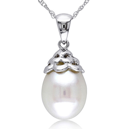 Cultured Freshwater Pearl 10K White Gold Pendant