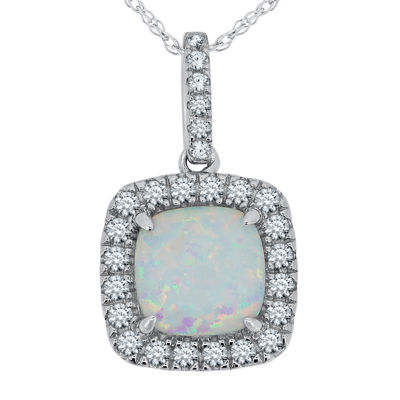 Lab-Created Opal & White Sapphire Sterling Silver Pendant Necklace