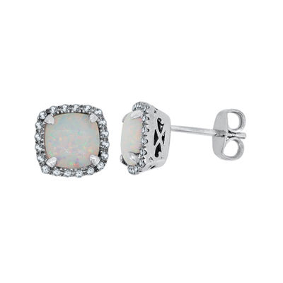 Lab-Created Opal & Lab-Created White Sapphire Sterling Silver Earrings