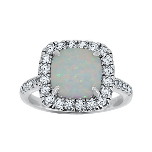 Lab-Created Opal & Lab-Created White Sapphire Sterling Silver Ring