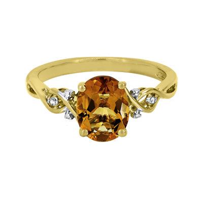 Genuine Citrine & Diamond Accent 14K Gold Over Silver Ring