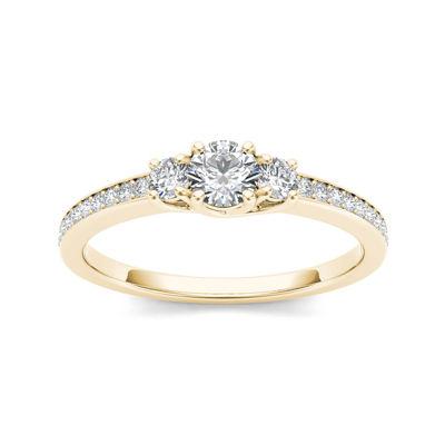 1/2 CT. T.W. Diamond 14K Yellow Gold 3-Stone Engagement Ring