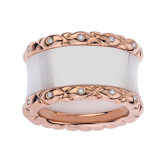 1/4 CT. T.W. Diamond, White Ceramic and Rose-Tone Sterling Silver Wedding Band