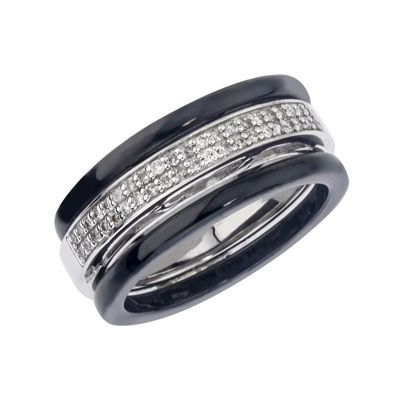 1/5 CT. T.W. Diamond, Black Ceramic and Sterling Silver Wedding Band
