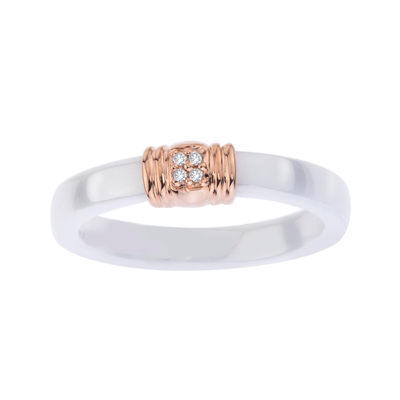 Diamond Accent White Ceramic and Sterling Silver Wedding Band