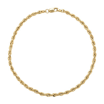 "Infinite Gold™ 14K Yellow Gold 8.5"" Glitter Hollow Rope Bracelet"