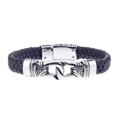Mens Stainless Steel & Black Braided Leather Bracelet