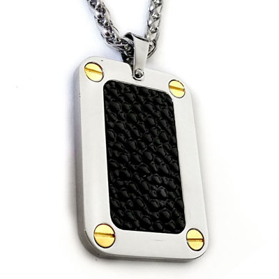 Mens Black Stingray Leather Two-Tone Stainless Steel Dog Tag Pendant Necklace