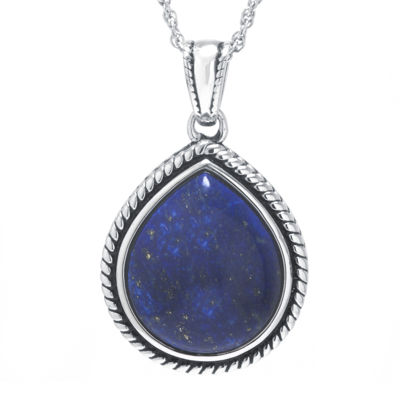 Dyed Blue Lapis Sterling Silver Teardrop Pendant Necklace