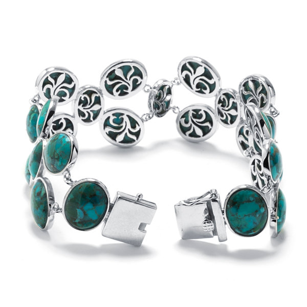 Enhanced Turquoise Sterling Silver Wide-Link Bracelet
