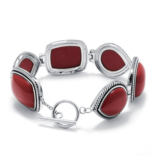 Simulated Red Jasper Sterling Silver Link Bracelet