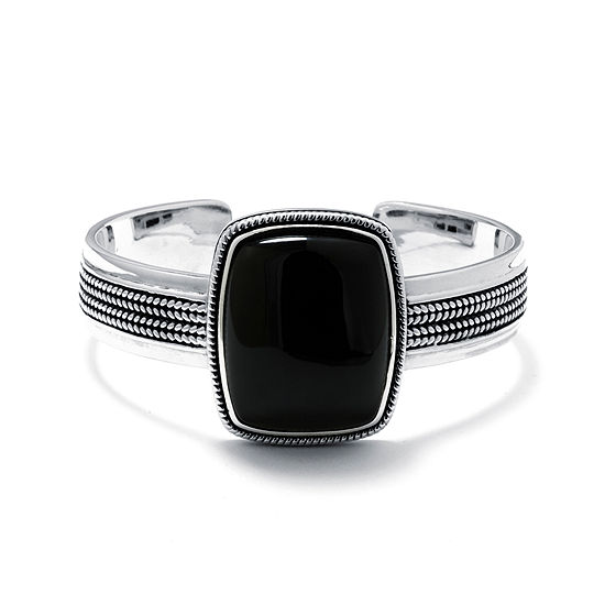 Genuine Black Onyx Sterling Silver Rectangular Cuff Bracelet