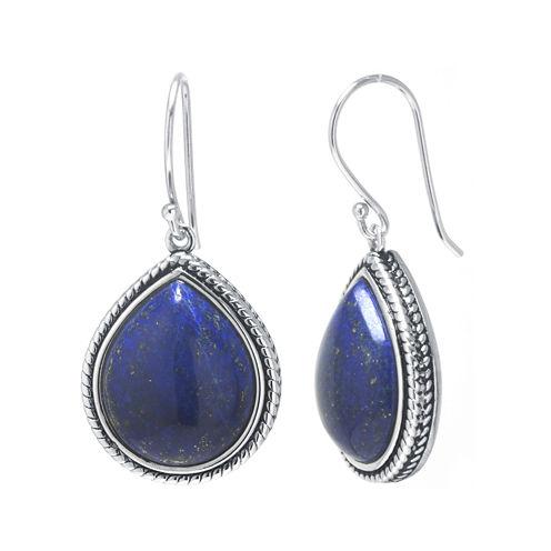 Dyed Blue Lapis Sterling Silver Drop Earrings