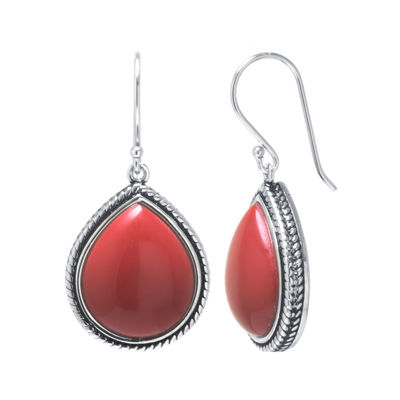 Simulated Red Jasper Sterling Silver Teardrop Earrings
