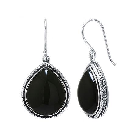 Genuine Black Onyx Sterling Silver Drop Earrings, One Size