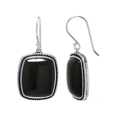 Genuine Black Onyx Sterling Silver Rectangular Drop Earrings