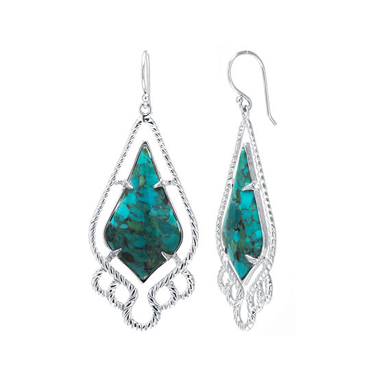Enhanced Turquoise Sterling Silver Estate Drop Earrings