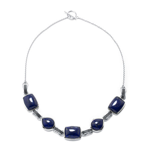 Dyed Blue Lapis Sterling Silver Necklace