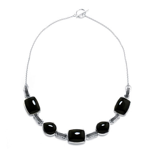 Genuine Black Onyx Sterling Silver Necklace
