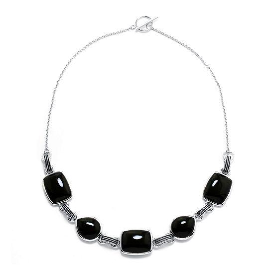 Genuine Black Onyx Sterling Silver Necklace
