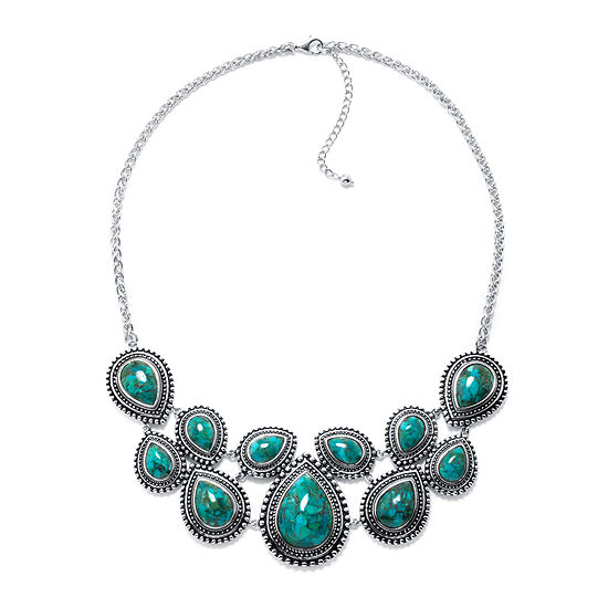 Enhanced Turquoise Sterling Silver Bib Necklace
