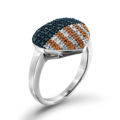 1/4 CT. T.W. White and Color-Enhanced Blue and Red Diamond Sterling Silver Flag Heart Ring
